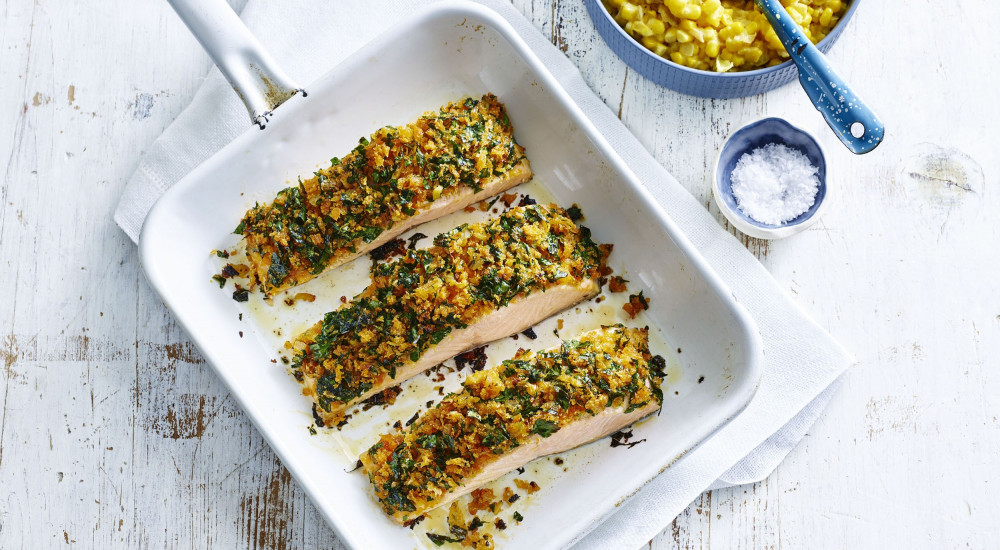 Herb crusted salmon with sweet corn mash