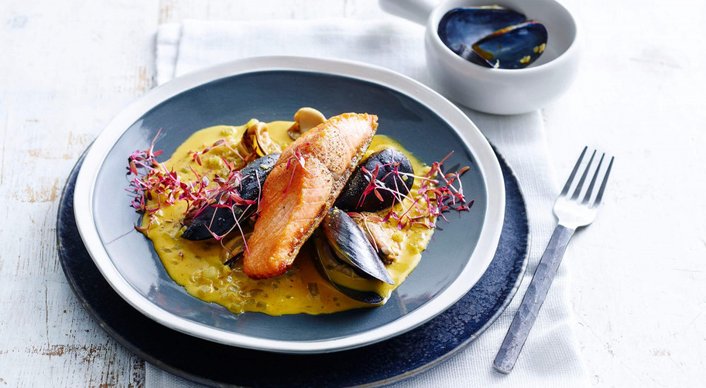 Ocean trout with mussels and saffron sauce