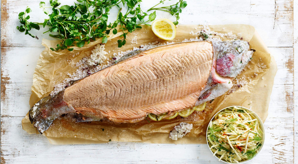 Salt baked whole ocean trout with celeriac and fennel remoulade