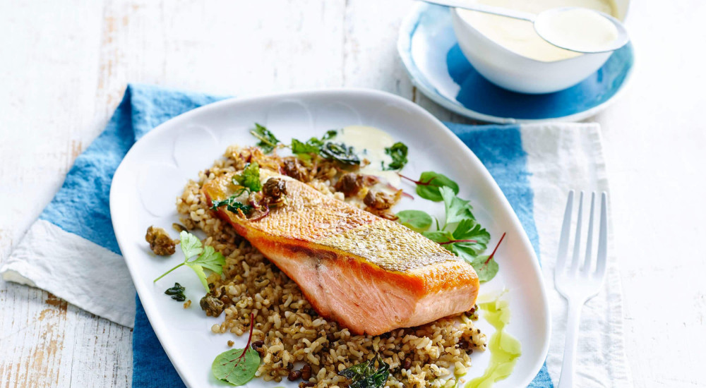 Seared trout fillets with crispy shallots, capers and parsley