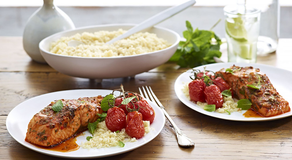 Spiced salmon with couscous