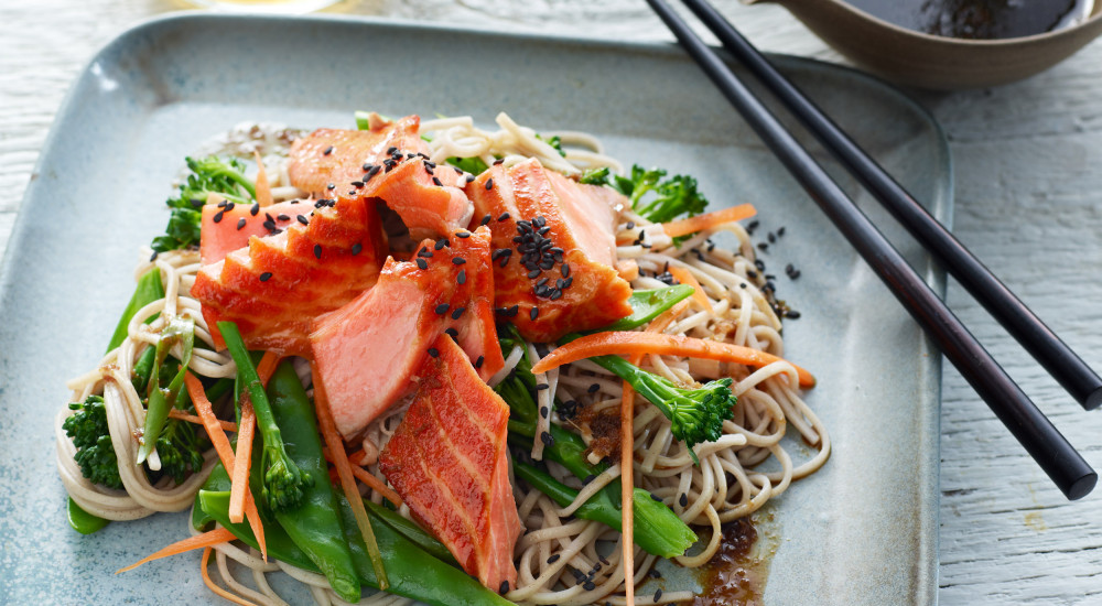 Japanese trout with soba noodles