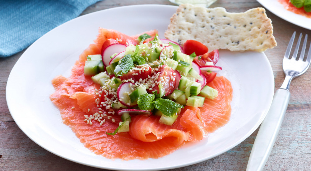 Smoked ocean trout with radish and cucumber salad