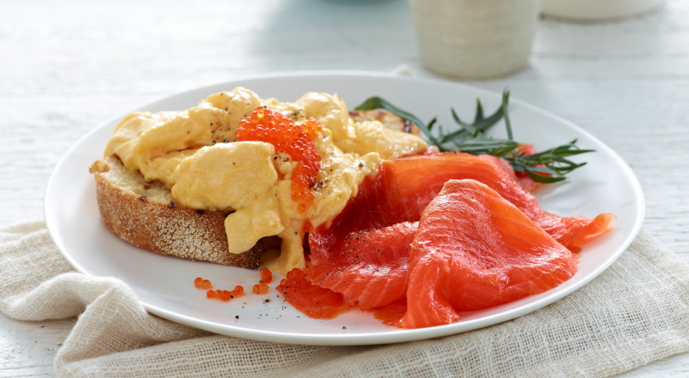 Smoked trout, scrambled eggs and tarragon with Petuna ocean trout caviar